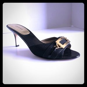 Guess kitten heals in Black with gold buckle size9